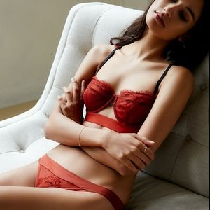 [Free People] Hour Of Dawn Sexy Red Lace Bra
